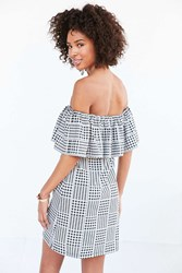 Cooperative Gingham Ruffle Off The Shoulder Mini Dress Black And White