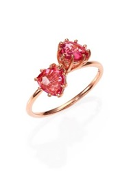 Suzanne Kalan Pink Topaz And 14K Rose Gold Double Trillion Ring Rose Gold Pink