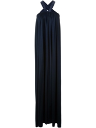 Maison Rabih Kayrouz Halter Neck Gathered Long Dress Blue