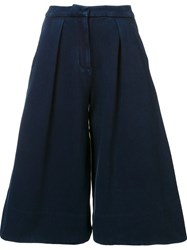 Ag Jeans Wide Flared Shorts Blue