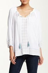 Democracy Embroidered Peasant Blouse White