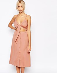 Fashion Union 2 In 1 Bow Front Midi Dress Pink