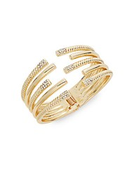 Natasha Layered Open Cuff Bracelet Goldtone