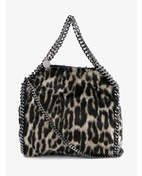 Stella Mccartney Falabella Mini Leopard Print Bag Brown Black Leopard Silver Cherry White