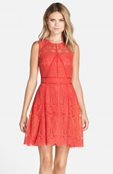 Adelyn Rae Women's Illusion Yoke Lace Fit And Flare Dress Bright Coral
