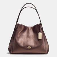 Coach Edie Shoulder Bag 31 In Refined Pebble Leather Light Gold Bronze