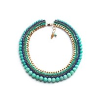Miss High And Low Sofia Necklace Gold Blue Gold Green