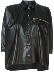 Maison Martin Margiela Mm6 Maison Margiela Faux Leather Shirt Black