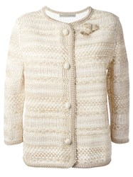 Ermanno Scervino Knit Buttoned Jacket Nude And Neutrals