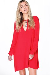 Boohoo Notch Front Swing Dress Poppy