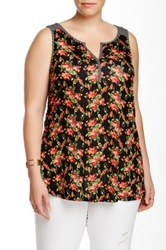 Olivia Moon Striped Floral Tank Plus Size Black