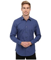 Calvin Klein Long Sleeve Infinite Cool Non Iron Y D End On End Shirt Blue Rush Men's Long Sleeve Button Up Navy