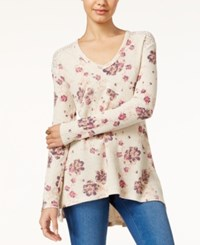 American Rag Printed Waffle Knit High Low Tunic Only At Macy's Oatmeal Combo