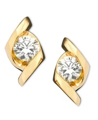 Sirena Earrings 14K Gold Diamond Stud 1 3 Ct. T.W.