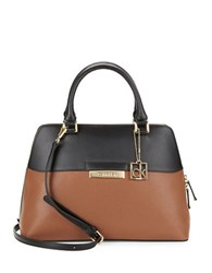 Calvin Klein Leather Dome Satchel Luggage Black