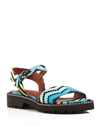 Missoni Zigzag Knit Ankle Strap Sandals Turchese
