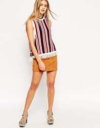 Asos Knitted Tank In Stripe With Fringing And Tie Sides Bluewhitered