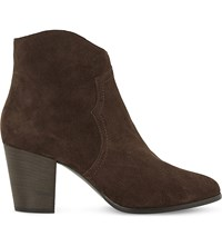 Dune Priscila Heeled Ankle Boot Brown Suede