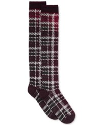 Hue Women's Blocked Plaid Knee Socks Deep Burgundy