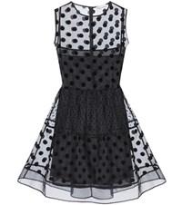Red Valentino Polka Dot Silk Organza Mini Dress Black