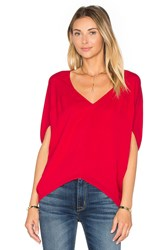 Heather Silk Bubble Top Red