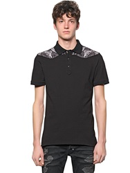 Just Cavalli Printed Western Style Stretch Pique Polo Black Grey
