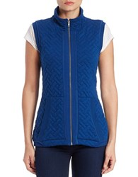 Context Quilted Stand Collar Vest Blue