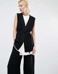 Gestuz Justine Waistcoat With Self Tie Black