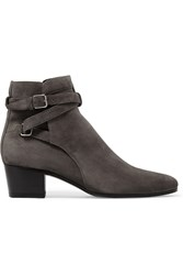 Saint Laurent Blake Suede Ankle Boots Dark Gray