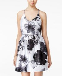 Crystal Doll Juniors' Floral Print Fit And Flare Dress White Black