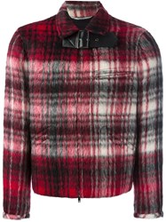 Valentino Buckled Check Bomber Jacket Red