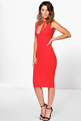 Boohoo Plunge Strap Choker Midi Dress Red