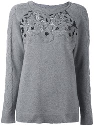 Blumarine Floral Lace Jumper Grey