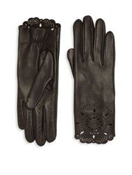 Burberry The Primrose Leather Lace Gloves Black