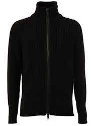 Ann Demeulemeester Grise Ribbed Roll Neck Zip Cardigan Black