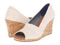 Toms Classic Wedge Natural Linen With Cork Wedge Women's Wedge Shoes White