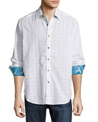 Robert Graham Quicksand Woven Paisley Trim Shirt White