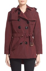 Women's Burberry Brit 'Knightsdale' Belted Drop Tail Hooded Trench Coat Deep Claret