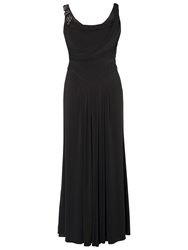 Chesca Cowl And Drape Detail Evening Dress Black