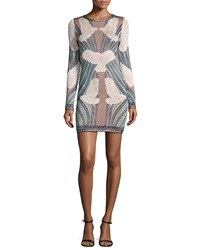 Herve Leger Long Sleeve Jacquard Mid Thigh Dress Pink Champagne