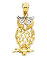 Macy's 14K Gold And Sterling Silver Charm Owl Charm