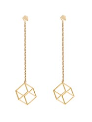 Noor Fares Pyramid And Cube Yellow Gold Earrings