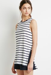 Forever 21 Striped Linen Tank Navy White