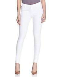 Hudson Mid Rise Ankle Skinny Jeans In White