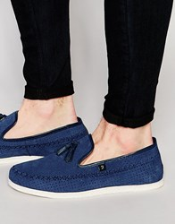 Farah Daze Suede Tassel Loafer Blue