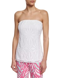 Lilly Pulitzer Tyra Diamond Lace Tube Top Resort White