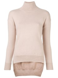 Cedric Charlier Turtle Neck Jumper Pink And Purple