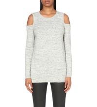 Karen Millen Cold Shoudler Cotton Blend Jumper Grey
