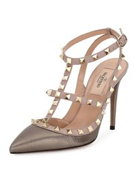 Valentino Rockstud 100Mm Strappy Pebbled Leather Pump Sasso Poudre