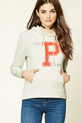 Forever 21 Fleece Knit Graphic Pj Hoodie Grey Coral